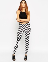 Asos Leggings In Mono Chevron Print Multi