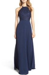 Hayley Paige Occasions Women's Lace Halter Gown Navy