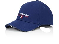 Vetements Haute Couture Embroidered Cotton Baseball Hat Blue