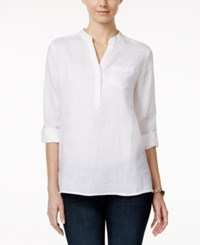 Charter Club Linen Windowpane Back High Low Tunic Only At Macy's Bright White