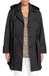 Plus Size Women's Via Spiga 'Scarpa' Single Breasted Trench Coat Black