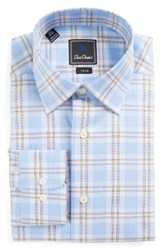 David Donahue Men's Big And Tall Trim Fit Plaid Dress Shirt Sky Chocolate