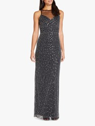 Adrianna Papell Beaded Maxi Gown Black Silver