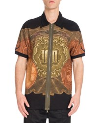 Givenchy Columbian Fit Money Print Full Zip Polo Shirt Black