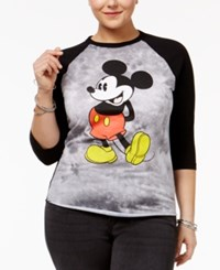 Hybrid Trendy Plus Size Mickey Graphic Baseball T Shirt Black Tie Dye