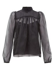 Rochas Neck Tie Silk Organza Blouse Black