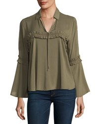 19 Cooper Ruffle Trim Long Sleeve Blouse Olive