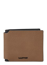 Lanvin Brown Grained Leather Wallet Light Brown