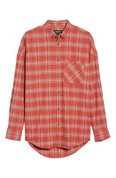 Zanerobe Men's Rugger Plaid Sport Shirt Vintage Red Grey Marled