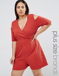 Pink Clove Cold Shoulder Playsuit Red