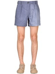 Jacquemus Pleated Cotton Canvas Shorts Navy