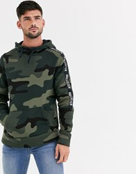 Hollister Icon And Sleeve Tape Logo Hoodie In Olive Camo Green