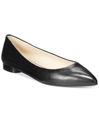 Nine West Onlee Pointed Toe Flats Women's Shoes Black Leather