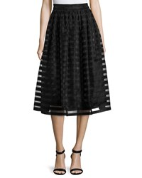 Erin Fetherston Quinne Striped Organza Midi Skirt Black