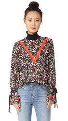 Mother Of Pearl Roma Blouse Navy Freesia