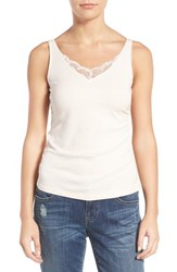 Wit And Wisdom Women's Lace Trim Side Ruched Tank Shell