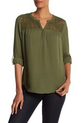 Daniel Rainn Crochet Yoke Blouse Green