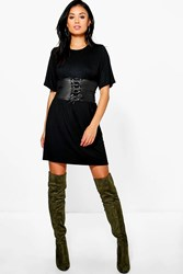 Boohoo 2 In 1 Corset Belt T Shirt Dress Black