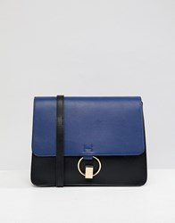 Warehouse Colourblock Satchel Bag In Navy