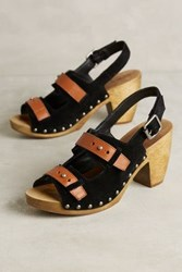 Anthropologie Kelsi Dagger Ben Suede Clogs Black 7 Wedges