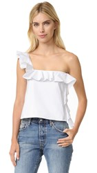 Viva Aviva One Shoulder Ruffle Top White Poplin