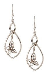Lois Hill Sterling Silver Butterfly Teardrop Dangle Earrings Metallic