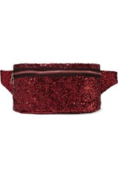 Maison Martin Margiela Mm6 Sequined Mesh And Leather Belt Bag Red