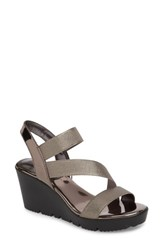 Charles By Charles David Vent Wedge Sandal Pewter Patent Leather