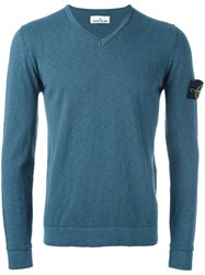 Stone Island V Neck Jumper Blue