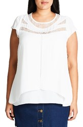 City Chic Plus Size Women's Lace Inset Chiffon Top