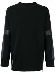 Diesel Faux Leather Trim Sweatshirt Black