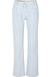 Off White Striped Mid Rise Straight Leg Jeans Blue