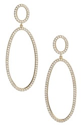 Nordstrom Pave Circle And Oval Drop Earrings Clear Gold