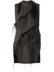 Rick Owens Goat Fur Detailed Tunic Black