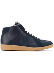 Maison Martin Margiela Replica Hi Top Sneakers Men Calf Leather Leather Suede Rubber 43 Blue