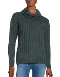 Lord And Taylor Merino Wool Ribbed Turtleneck Sweater Boxwood Heather