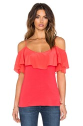Ella Moss Belle Ruffle Top Coral
