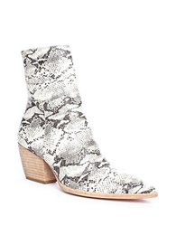 Matisse Caty Snake Print Leather Ankle Boots Black White