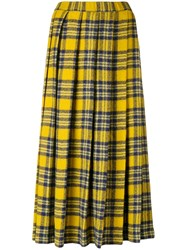 Aspesi Pleated Plaid Midi Skirt Yellow And Orange
