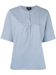 A.P.C. Bib Short Sleeve T Shirt Women Cotton S Blue