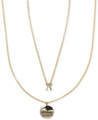 Ivanka Trump Gold Tone 2 Pc. Set Initial And Disc Pendant Necklaces Crystal A