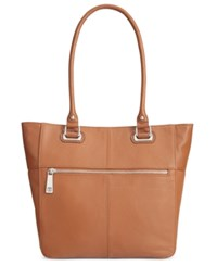 Tignanello Perfect Pockets Leather Medium Tote Cognac