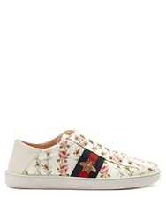 Gucci New Ace Rose Print Foldable Heel Canvas Trainers Pink White