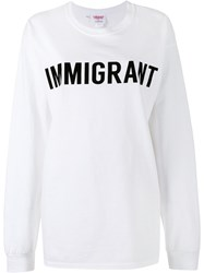 Ashish Crew Neck Immigrant Sweatshirt White