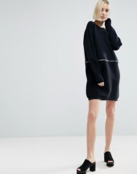 Asos Jumper Dress With Zip And Removable Hem Black