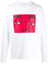 J.W.Anderson Jw Anderson Graphic Print Long Sleeved T Shirt White