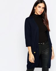 Warehouse Button Pocket Cardigan Navy