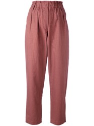 Forte Forte Elasticated Waist Cropped Trousers Pink Purple