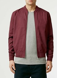 Topman Burgundy Cotton Bomber Jacket Red