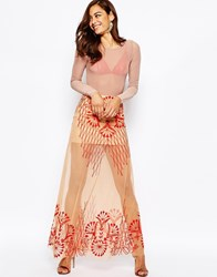 Asos Maxi Skirt With Sheer Illusion Embroidery Nudered